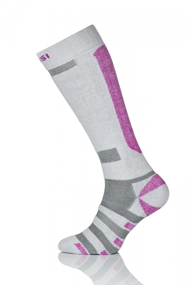 Термошкарпетки Nessi S4 Біло-сірі з рожевим - 1